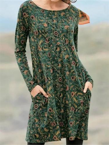 Relaxed Fit Round Neck Floral Printed Long Sleeve Pocket Dress