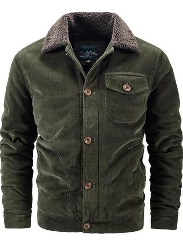 Mens Cozy Warm Corduroy Fleece Lined Thick Jacket Coat