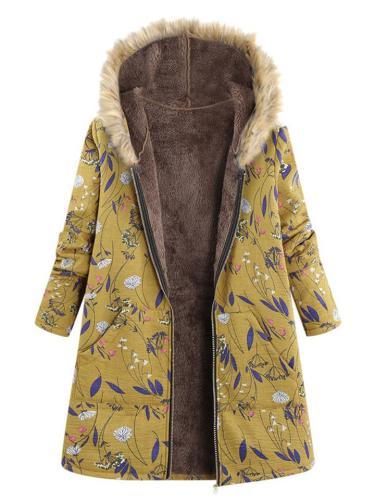 Cozy Warm Cotton Linen Fur Lining Pocket Printed Hooded Coat