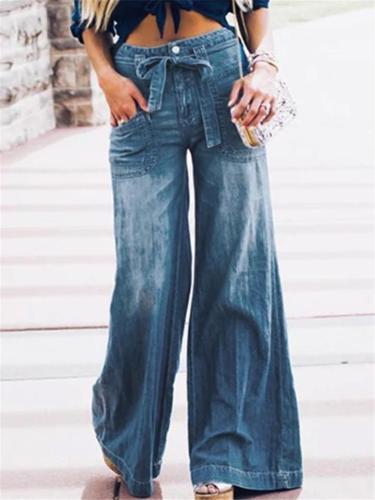 Fashion Lace-up Bowknot Denim Pants