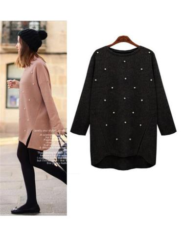 Elegant Pearl Embellished Side Slit Pull Over Sweater