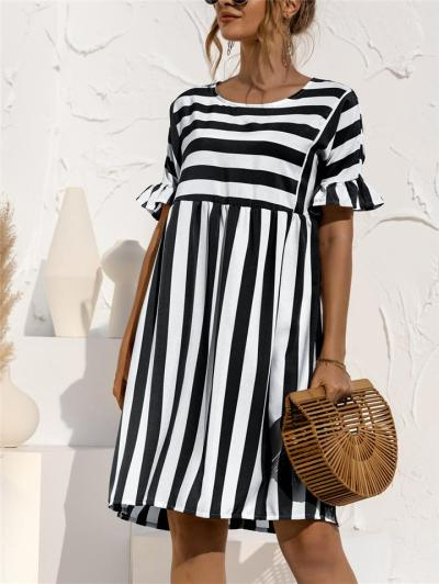 Relaxed Fit Round Neck Striped Ruffled Short Sleeve Flare Midi Dress