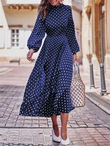 Trendy Polka Dot Elastic Sleeve Cuff Asymmetric Hem Long Dress