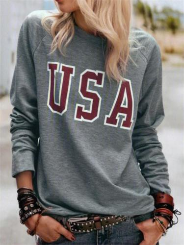 Relaxed Fit Round Neck USA Letter Printed Long Sleeve Tops