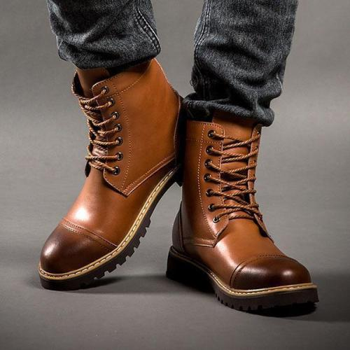 Men Vintage British Style Lace-Up Martin Boots