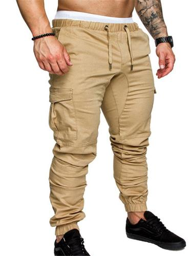 Men's Elastic Waist Drawstring Multi Pocket Cargo Pants
