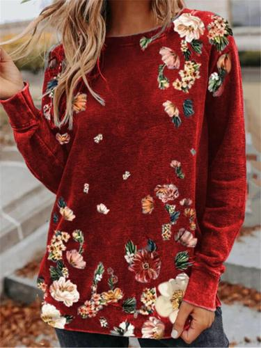 Casual Style Round Neck Floral Printed Long Sleeve Pullover Tops