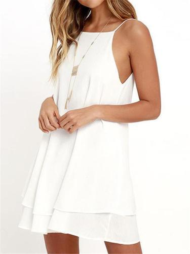 Relaxed Fit Adjustable Strap Solid Color Layered Hem Flare Chiffon Mini Dress
