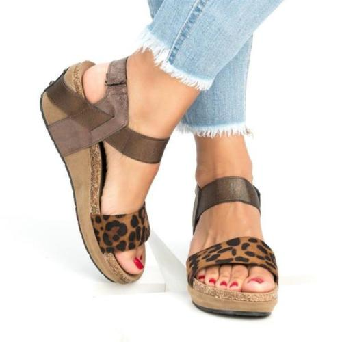 Women's Cute Leopard Print Wedges Platform Sandals