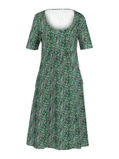 Relaxed Fit V Neck Short Sleeve Floral Printed Pleated Pocket Midi Dress