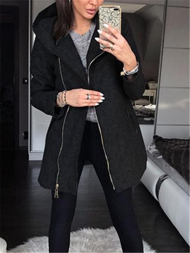Women Stylish Slim Hooded Zipper Outerwear