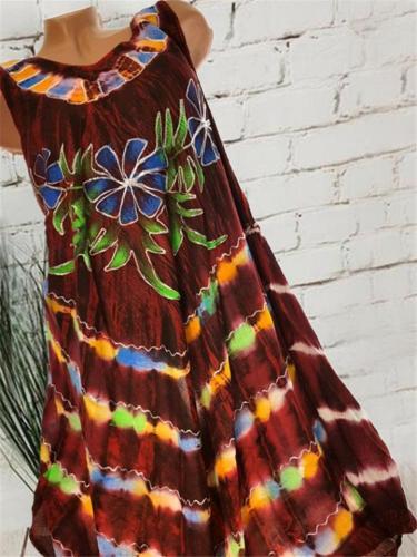 Round Neck Floral Tie Dye Sleeveless Midi Dress