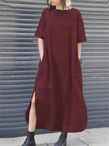 Vintage Style Round Neck Short Sleeve Side Slit Linen Cotton Maxi Dress