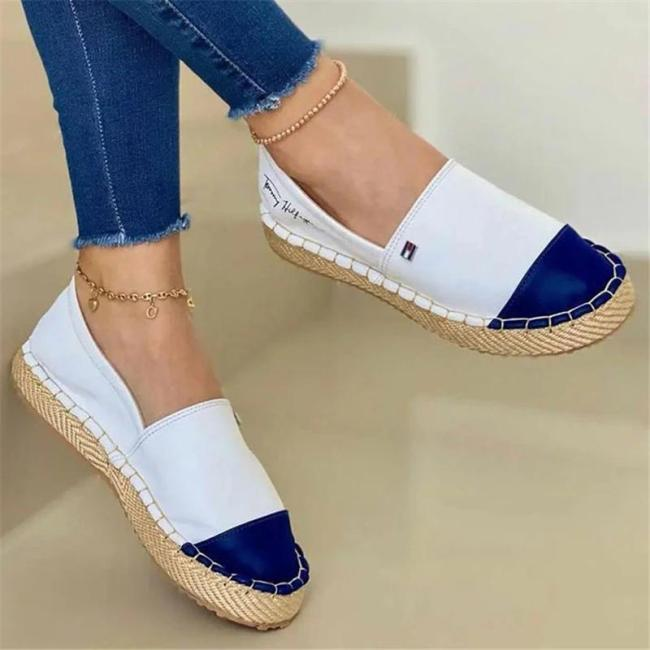 Casual Breathable Contrasting Low-Cut Flat Heel Canvas Loafers