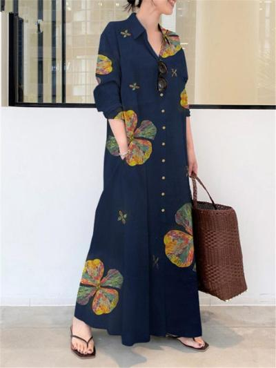 Casual Style Lapel Collar Clover Printed Button Up Pocket Maxi Dress