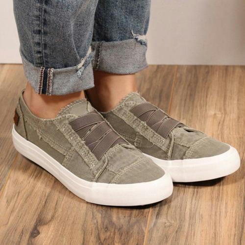 Plus Size Comfy Elastic Slip-on Flat Heel Canvas Shoes