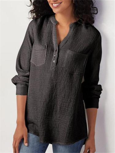 Relaxed Fit V Neck Cotton Linen Pocket Solid Color Pullover Blouse