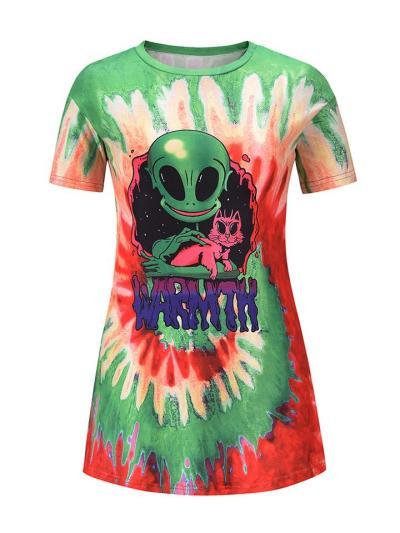 Creative Alien Cartoon Short Sleeve Round Neck Mini Shift Dress
