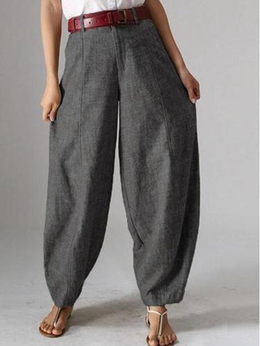 Pure Color Baggy Pockets Harem Pants For Women