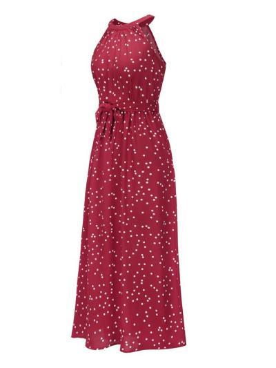 Trendy Halter Neck Polka Dot Waist Tie Sleeveless Maxi Dress