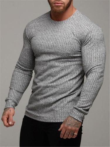 Mens Casual Long Sleeve Round Collar Knitting T-shirt