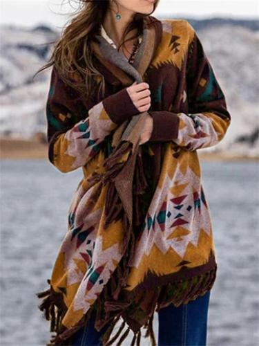 Multicolor Boho Color-Block Printed Patchwork Tassel Outerwear