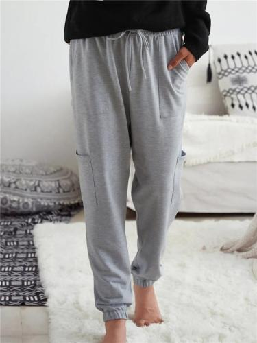 Comfortable Drawstring Multi-Pocket Elastic Cuff Solid Color Pants