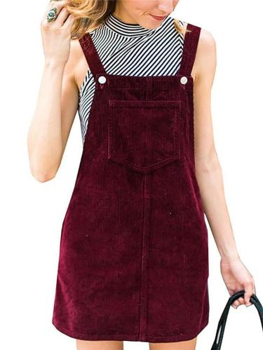 Sweetheart Corduroy Front Pocket Straight Mini Overall Dress
