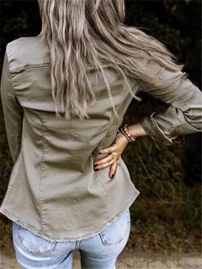 Retro Style Lapel Collar Chest Pocket Button Up Denim Coat
