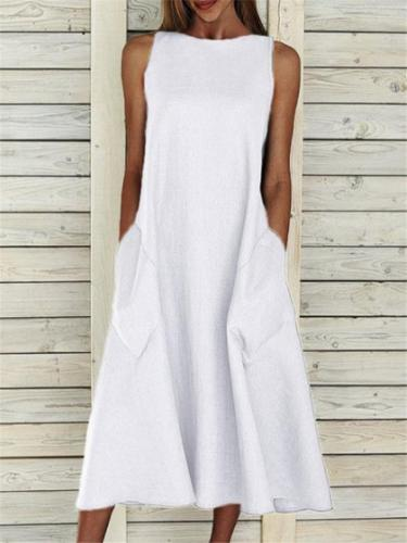Casual Fit Round Neck Sleeveless Solid Color Pocket Midi Dress