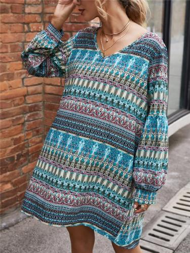 Bohemian Style V Neck Printed Long Sleeve Chiffon Mini Dress