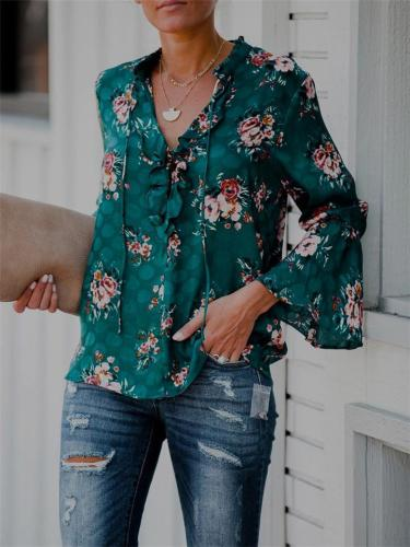 Casual Floral Blouse with Bell Sleeve