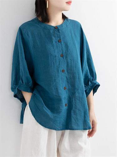 Minimalist Style Round Neck Button Up 3/4 Sleeve Lightweight Blouse