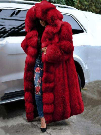 Extra Cozy Warm Faux Fur Thicken Long Hooded Coat