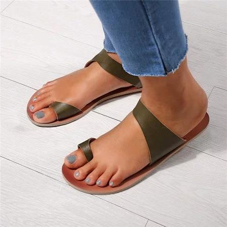 Women's Daily PU Leather Flat Heel Summer Slippers
