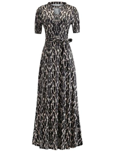 Fashionable Floral Printed Short Sleeve Waist Tie Maxi Dress