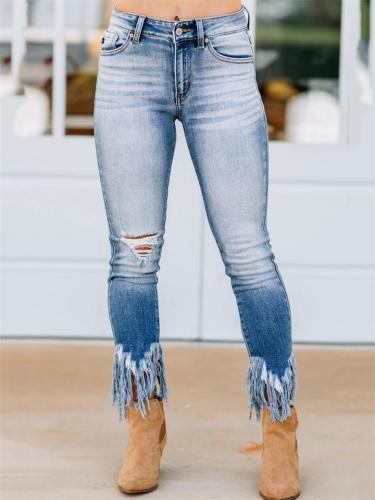 Stylish High Waist Ripped Design Frayed Cuff Skinny Jeans