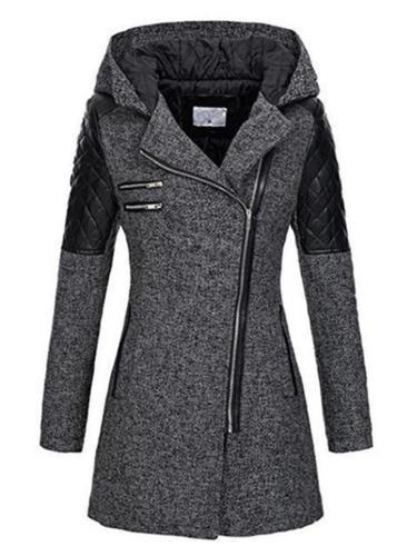 Women's Warm Asymmetric Design Hooded Coat