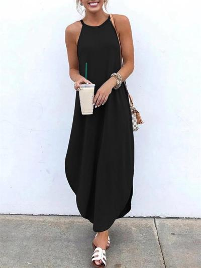 Loose Fit Solid Color Round Neck Strappy High-Low Maxi Dress