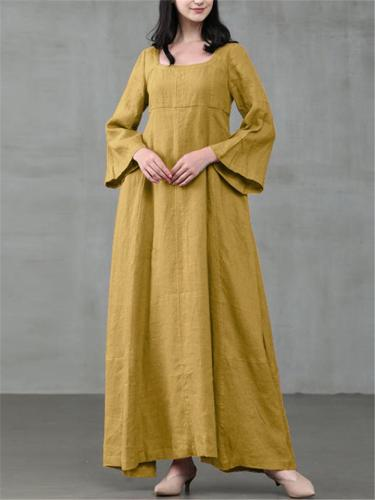 Casual Fit Scoop Neck Bell Sleeve Cotton Flare Maxi Dress