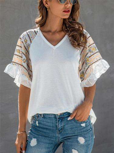 Casual Fit V Neck Floral Printed Chiffon Ruffled Cuff T-Shirt