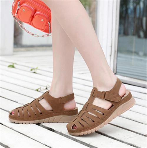 Comfortable Cutout Closed-Toe Velcro Thick-Sole Non Slip Sandals