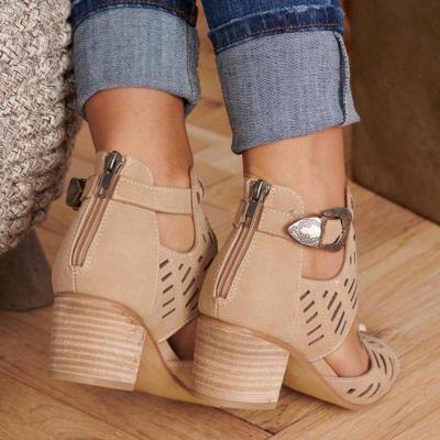 Chunky Heel Adjustable Buckle Casual Sandals