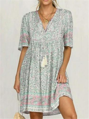 Pretty Floral Printed V Neck Short Sleeve Pleated Flare Midi Dress