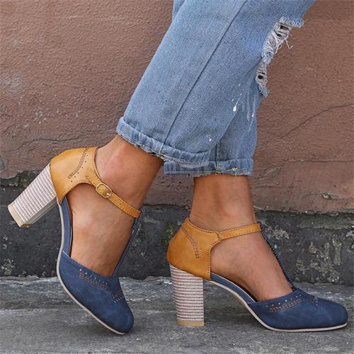 Elegant Retro Buckle Strap Chunky Heel Pumps Sandals
