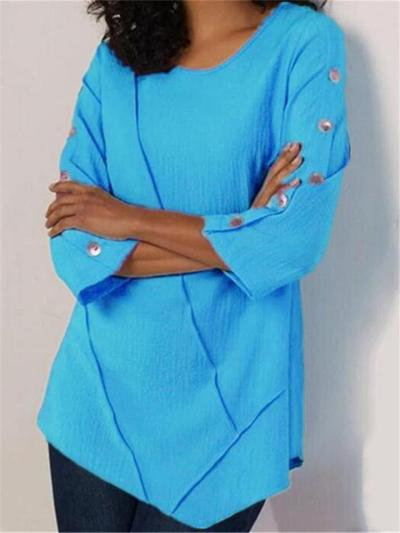 Casual Fit Round Neck Long Sleeve Solid Color Chiffon Pullover Tops