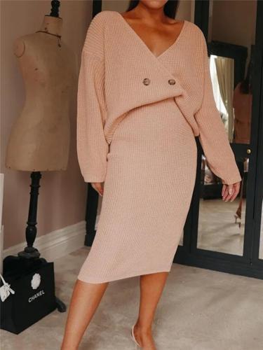Stylish Sweater Sets Wrap Neck Tops + Midi Length Skirt