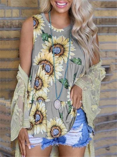Fashionable Round Neck Sunflower Printed Pullover Tank Tops