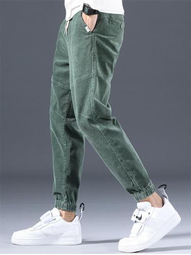 Vintage Corduroy Drawstring Elastic Waist Beam Feet Pants