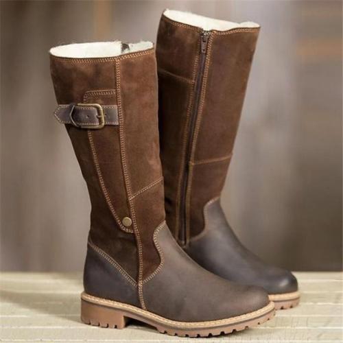 Classic Fashion Women Boots Plush Warm Knee High Luxury Snow Boots